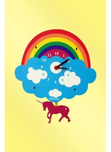 Peoples Clock Unicorn Sallanan Sarkaçlı Çocuk Odası Duvar Saati Renkli